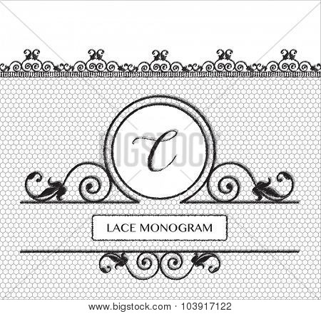 Letter C black lace monogram, stitched on seamless tulle background with antique style floral border. EPS10 vector format.