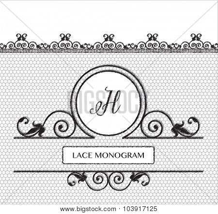 Letter H black lace monogram, stitched on seamless tulle background with antique style floral border. EPS10 vector format.
