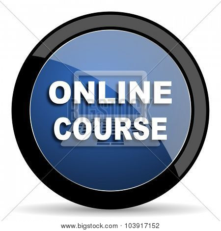 online course blue circle glossy web icon on white background, round button for internet and mobile app