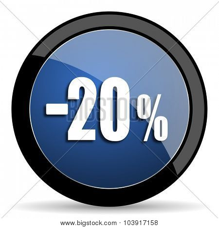 20 percent sale retail blue circle glossy web icon on white background, round button for internet and mobile app