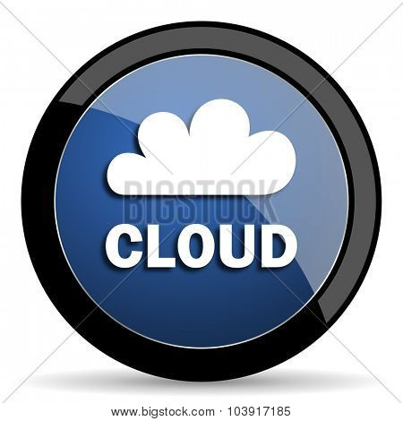 cloud blue circle glossy web icon on white background, round button for internet and mobile app
