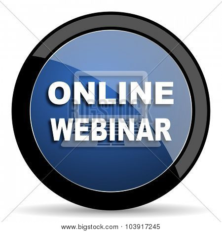 online webinar blue circle glossy web icon on white background, round button for internet and mobile app