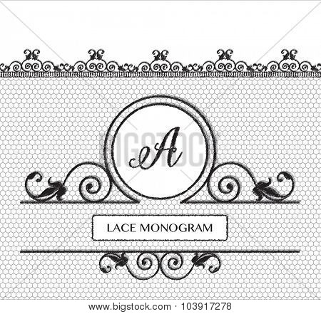 Letter A black lace monogram, stitched on seamless tulle background with antique style floral border. EPS10 vector format.