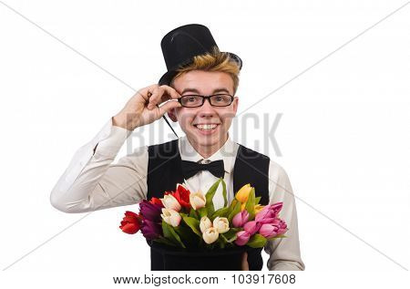 Smiling gentleman with flowers isolated on white