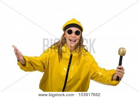 Woman in yellow suit isolated on white
