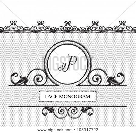 Letter P black lace monogram, stitched on seamless tulle background with antique style floral border. EPS10 vector format.