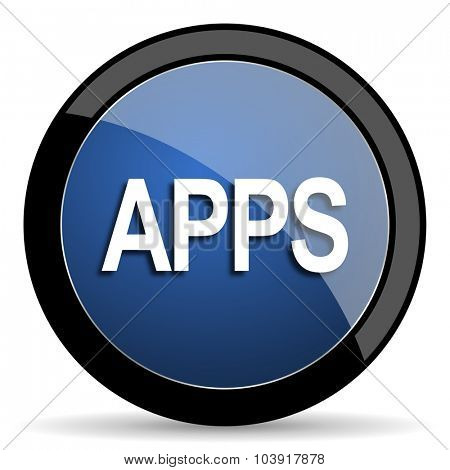 apps blue circle glossy web icon on white background, round button for internet and mobile app