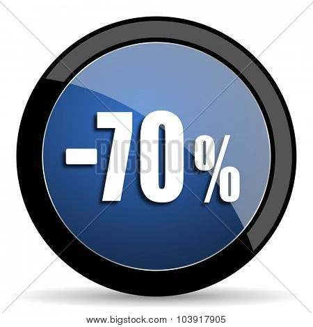 70 percent sale retail blue circle glossy web icon on white background, round button for internet and mobile app