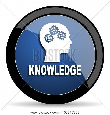knowledge blue circle glossy web icon on white background, round button for internet and mobile app