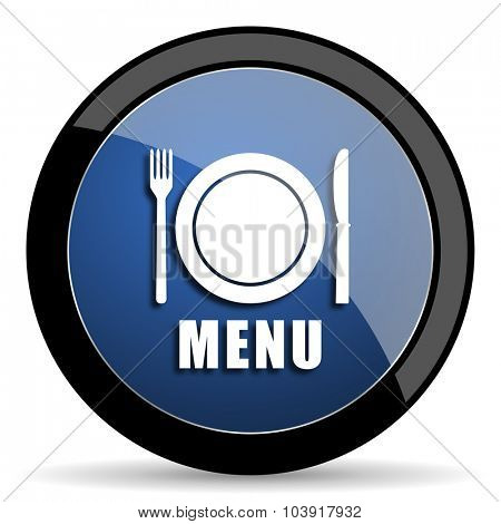 menu blue circle glossy web icon on white background, round button for internet and mobile app