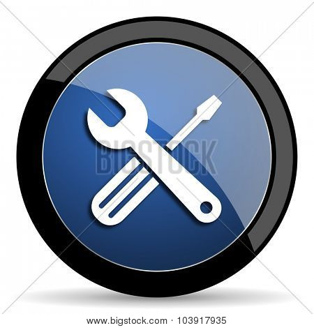 tools blue circle glossy web icon on white background, round button for internet and mobile app