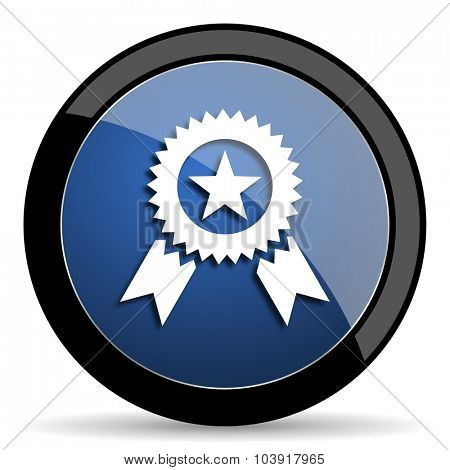 award blue circle glossy web icon on white background, round button for internet and mobile app