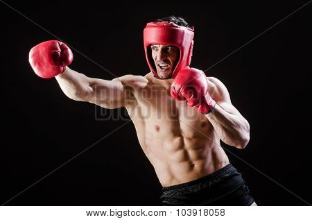 Muscular man in boxing concept