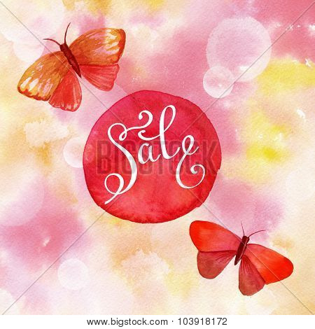 Vintage 'sale' Design With Calligraphy And Watercolor Butterflies