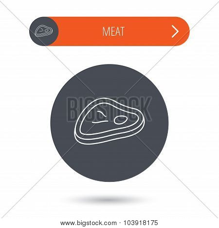 Meat icon. Beef steak sign.