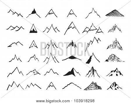 Mountain icons set. Hand drawn