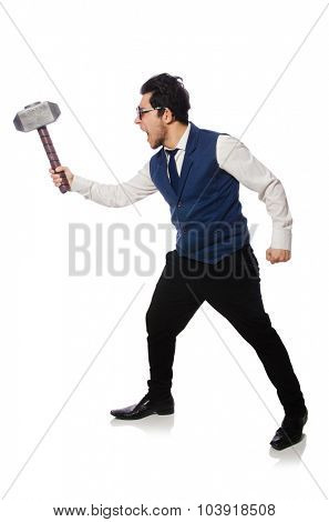 Young man holding hammer isolated on white