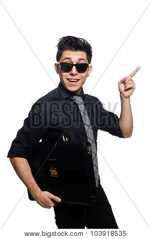Young smiling employee with briefcase isolated on white