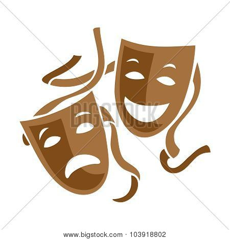 Comedy And Tragedy Theater Masks Illustration.