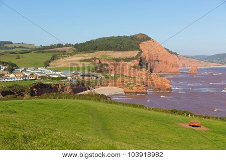 Ladram Bay coast Devon England UK located between Budleigh Salterton and Sidmouth Jurassic coast