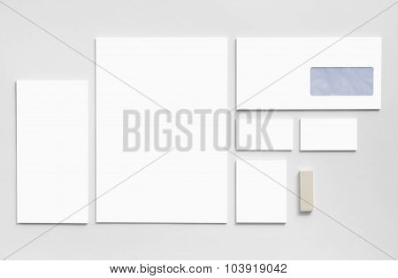 Branding mockup template with white business cards, envelopes.