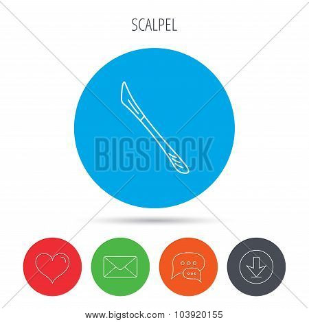 Scalpel icon. Surgeon tool sign.