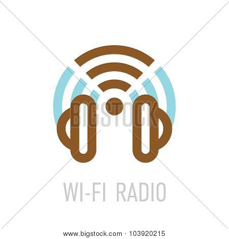 Wireless Internet Radio Logo Template With Headphones And Wi-fi Sign.