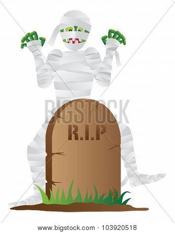 Halloween Mummy With Tombstone Vector Illustration