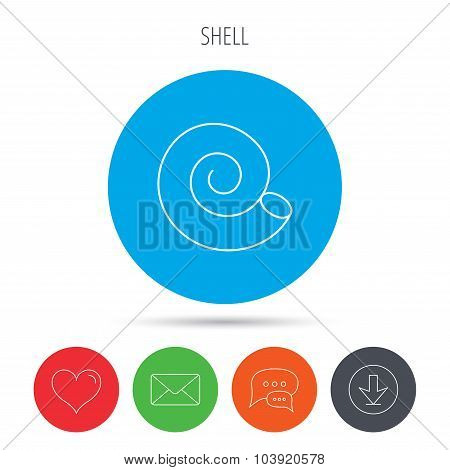 Sea shell icon. Spiral seashell sign.