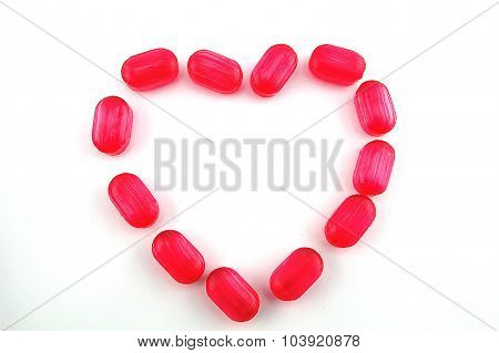 heart of candy on a white background
