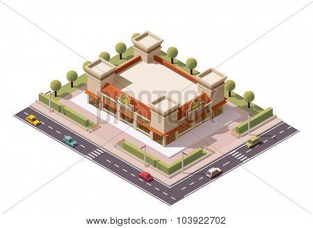 Vector isometric farmers market building