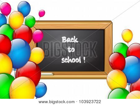 School Background With Colorful Balloons