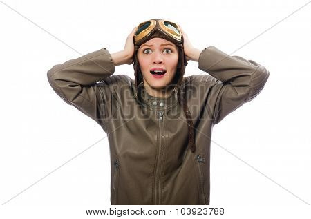 Funny woman pilot isolated on white