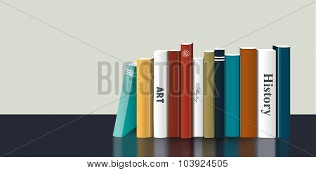 Book Shelf. Realistic 3D Vector Illustration. Color Design.