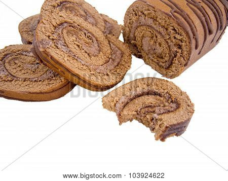 sweet chocolate roulade sliced and isolated