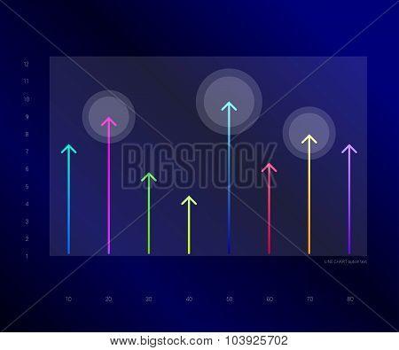 Exclusive Dark Blue Bussiness Chart, Graph. Line Arrows Design.
