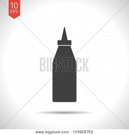 Vector flat bottle with ketchup
