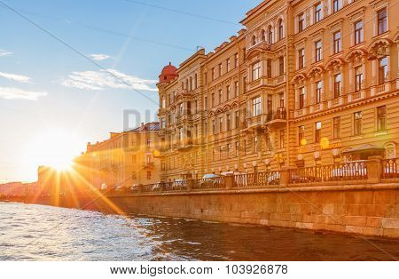 Saint Petersburg/Russia - August 13, 2015: The house on the embankment of Griboyedov Canal