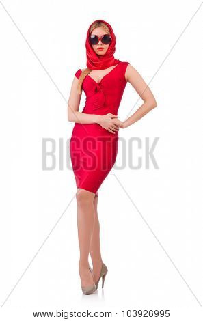 Blondie in red dress isolated on white