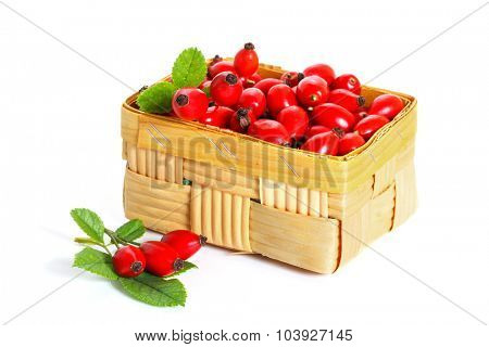 Fresh rosehip fruit and leaves in a basket  isolated on a white background