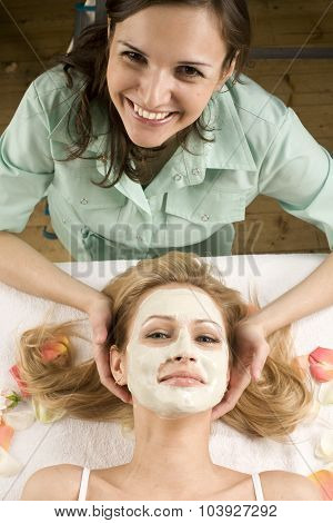stock photo attractive lady getting spa treatment in salon