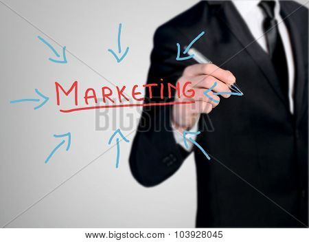 Business man close-up write Marketing word