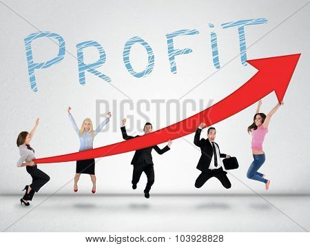 Profit word and red arrow report growth statistics