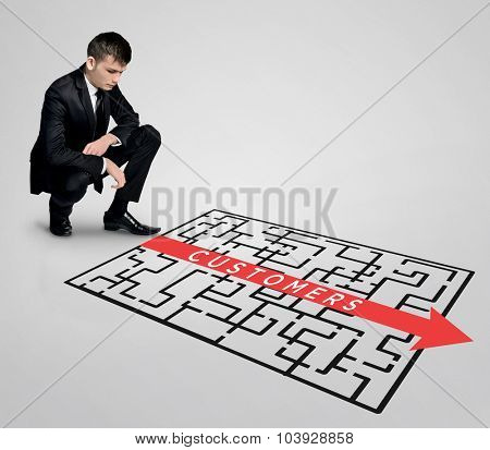 Customers word maze and business man thinking solution