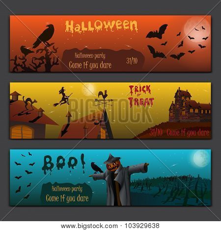 Halloween Cards Baners Design Vector Set With Pumpkin, Witch, Bats, Scarecrow And Haunted House.