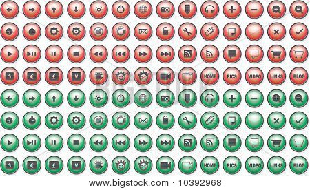 Red and Green Web Buttons