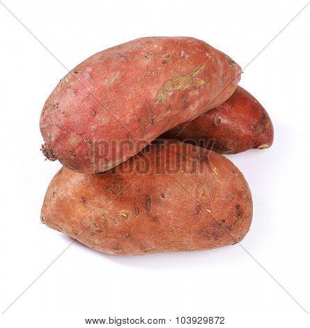 Sweet potato on a white background