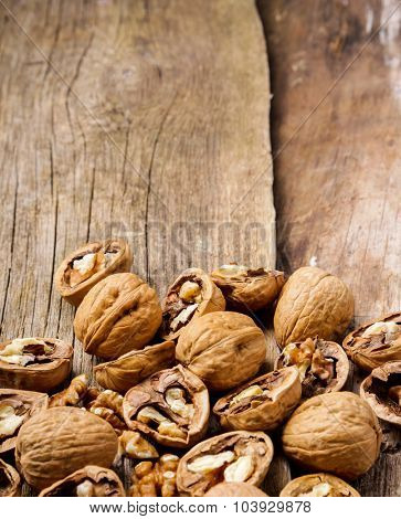 Nuts. Walnuts on the wooden table