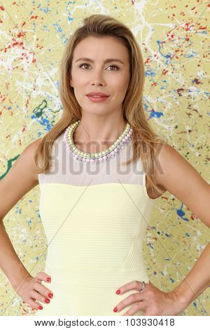 Woman on a colorful background