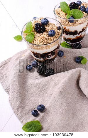 Healthy food. Delicious muesli dessert with blueberry